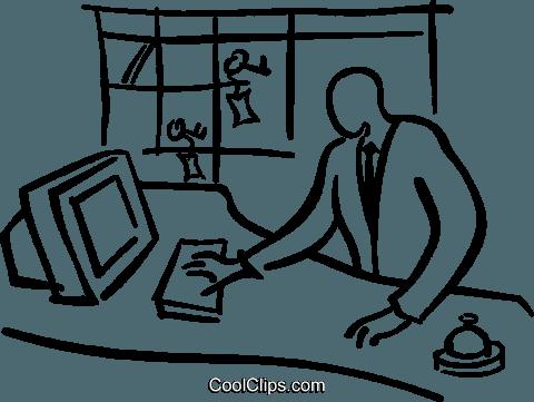 hotel front desk Royalty Free Vector Clip Art illustration.