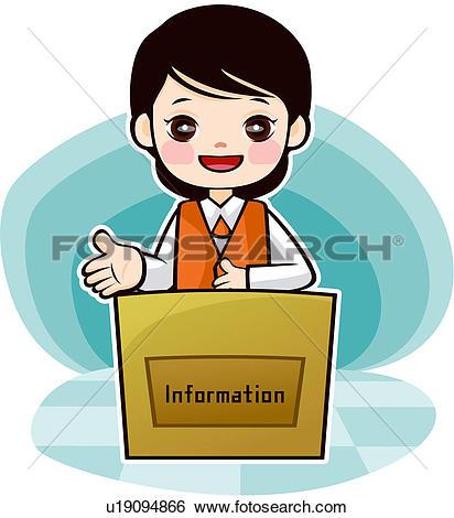 Stock Illustration of desk clerk, profession, customer service.