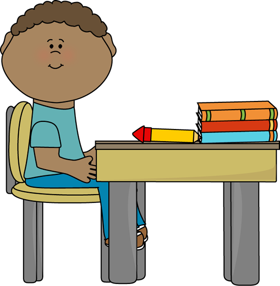 Girl Student At Desk Clipart.