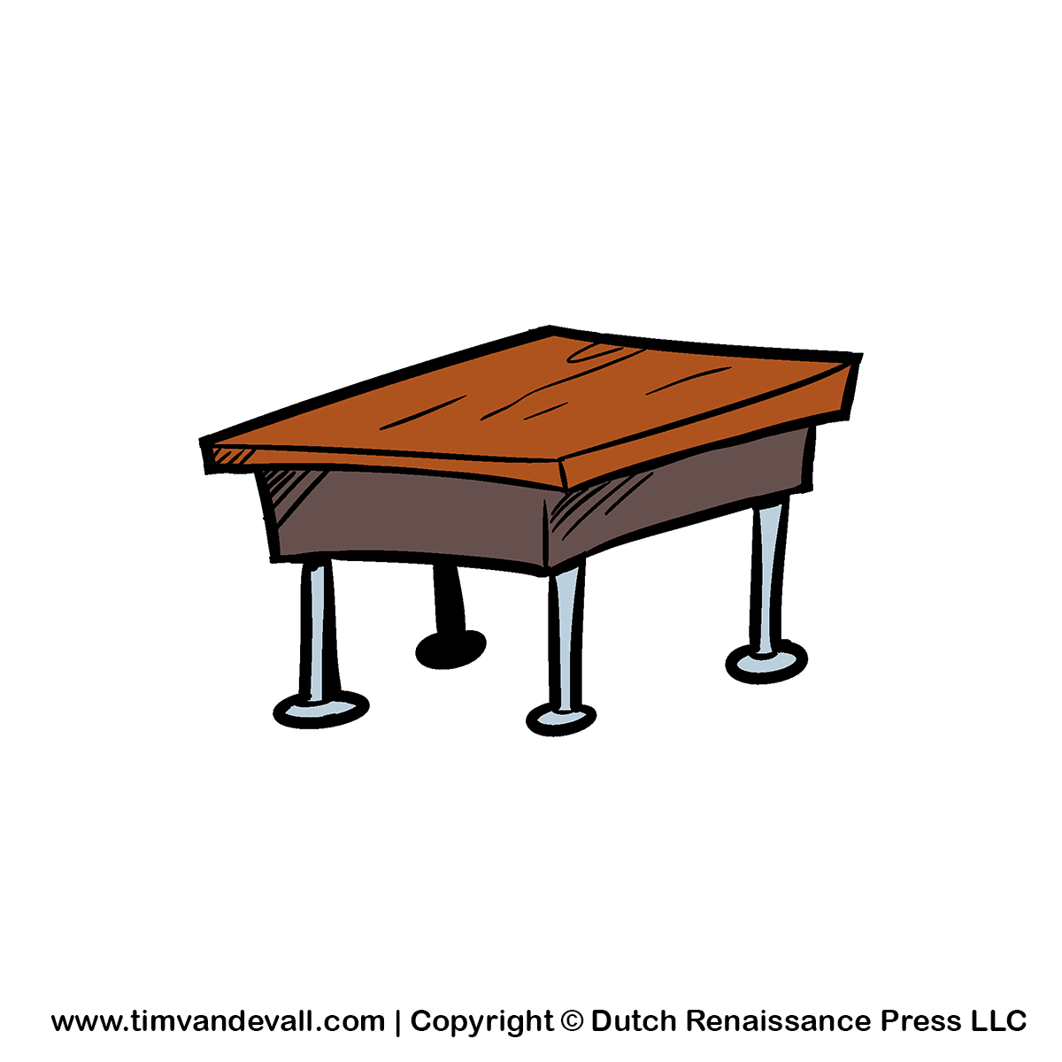 Clean Student Desk Clipart.