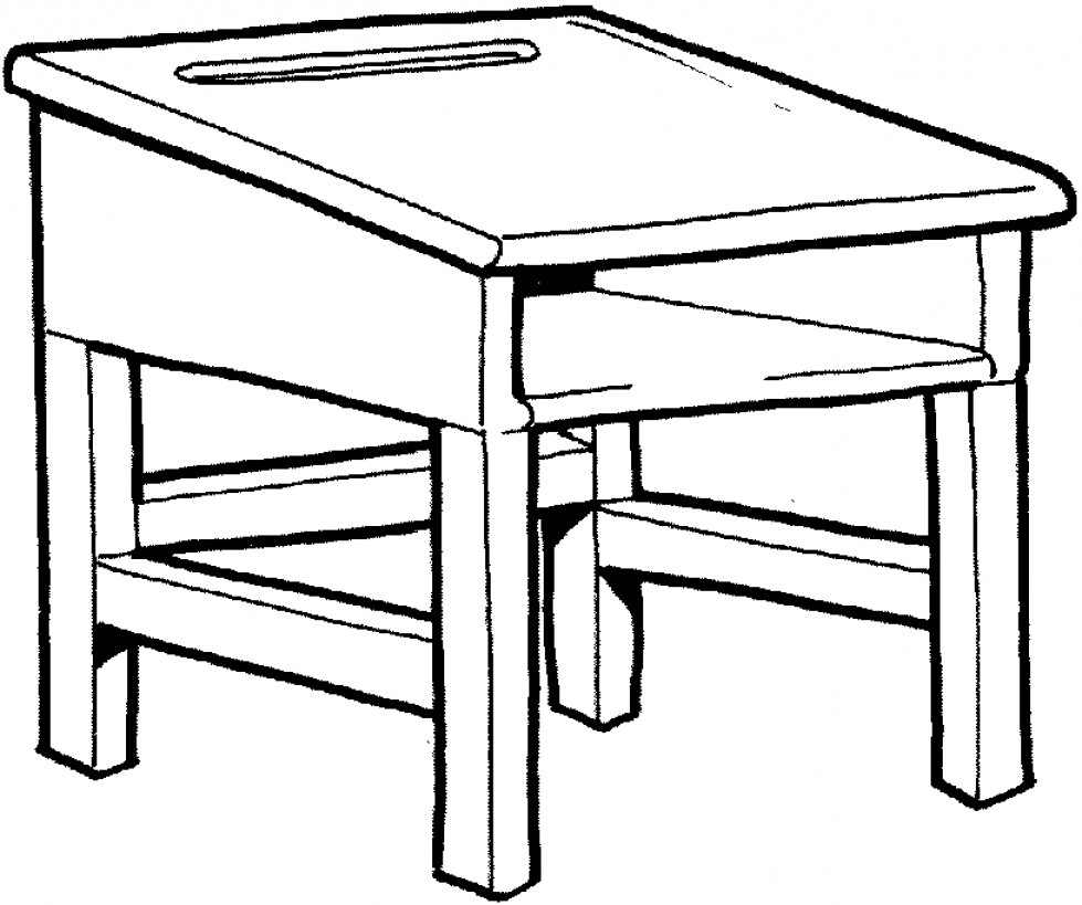Top Teacher Desk Clip Art Black And White Draw.