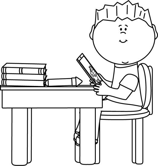 Student Desk Clipart Black And White Ujecdent Throughout Students.
