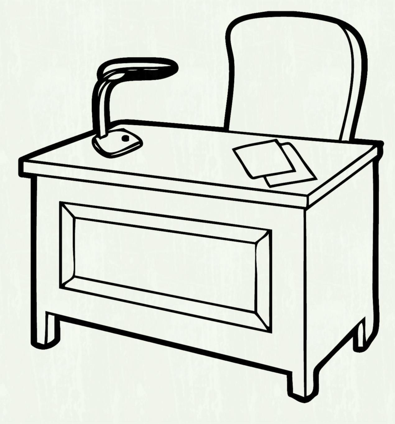 Desk clipart black and white 5 » Clipart Station.