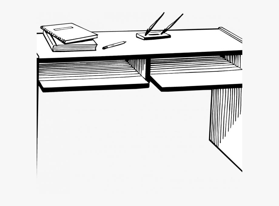 Desk Clipart Black And White.