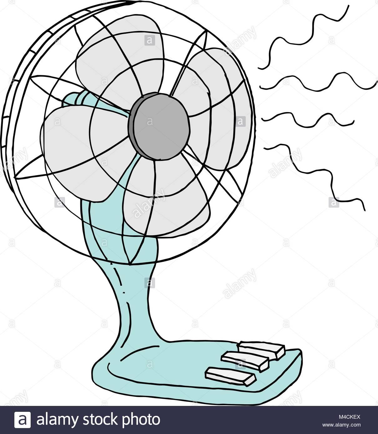 An image of a small desk electric desk fan Stock Vector Art.