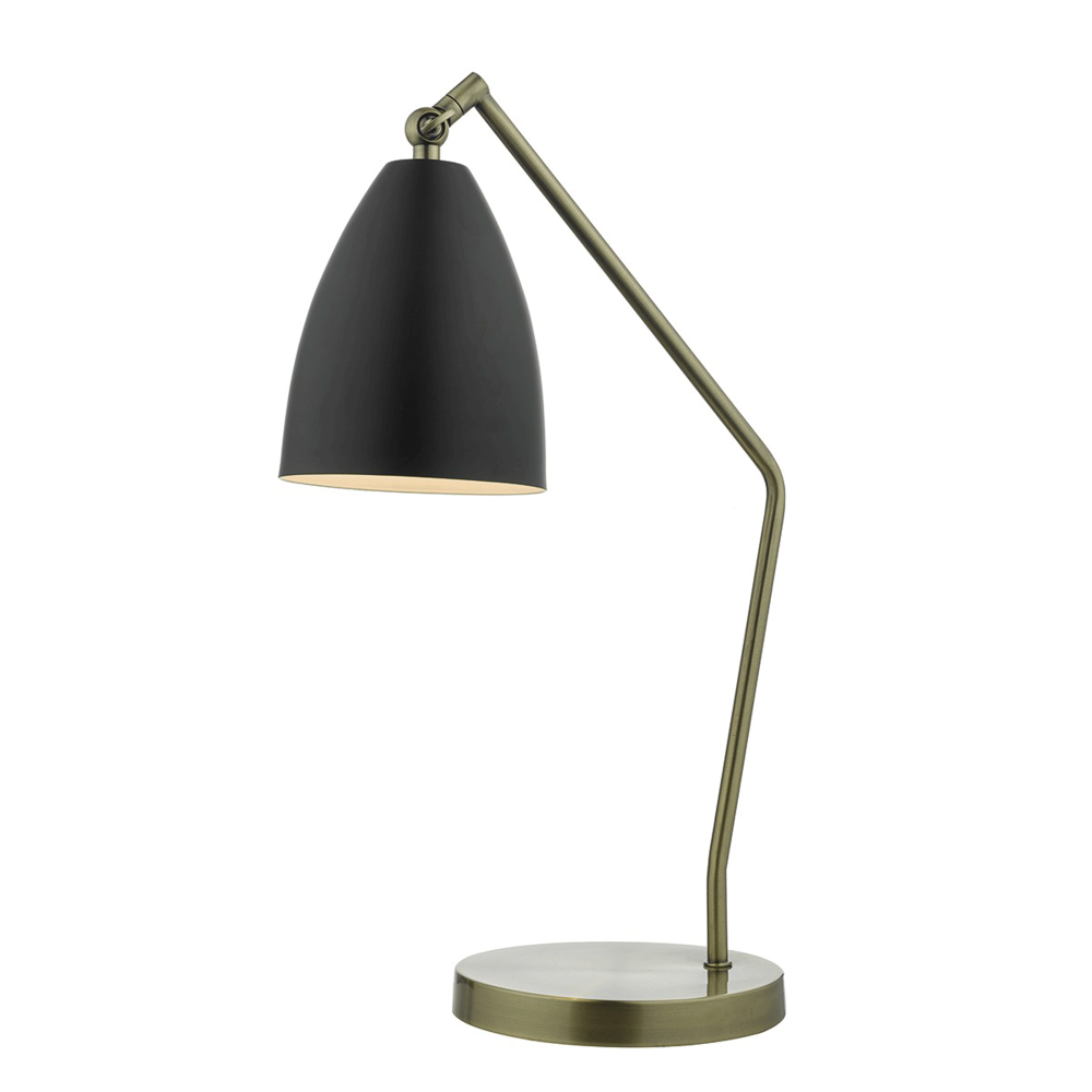 Olly Desk Lamp in Antique Brass and Black.