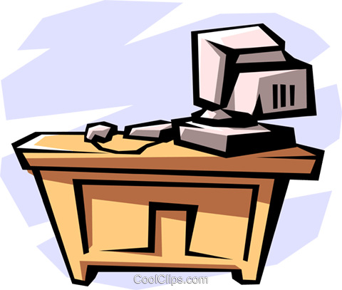 desk with computer Royalty Free Vector Clip Art illustration.