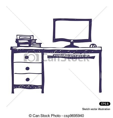Vector Clipart of Computer desk. Hand drawn vector illustration on.