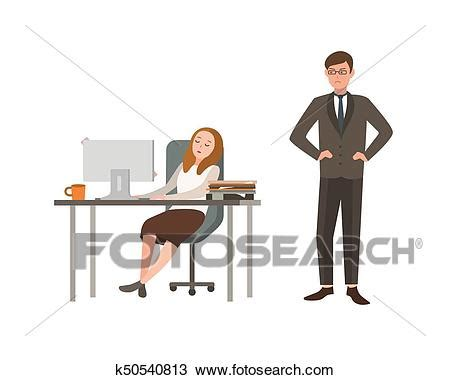 Office Clipart Female Office Worker Pencil And In Color, Desk Worker.