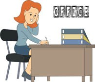 Office worker sitting at desk » Clipart Portal.