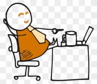 Worker Relaxing On Top Of Desk Clipart (#3324072).