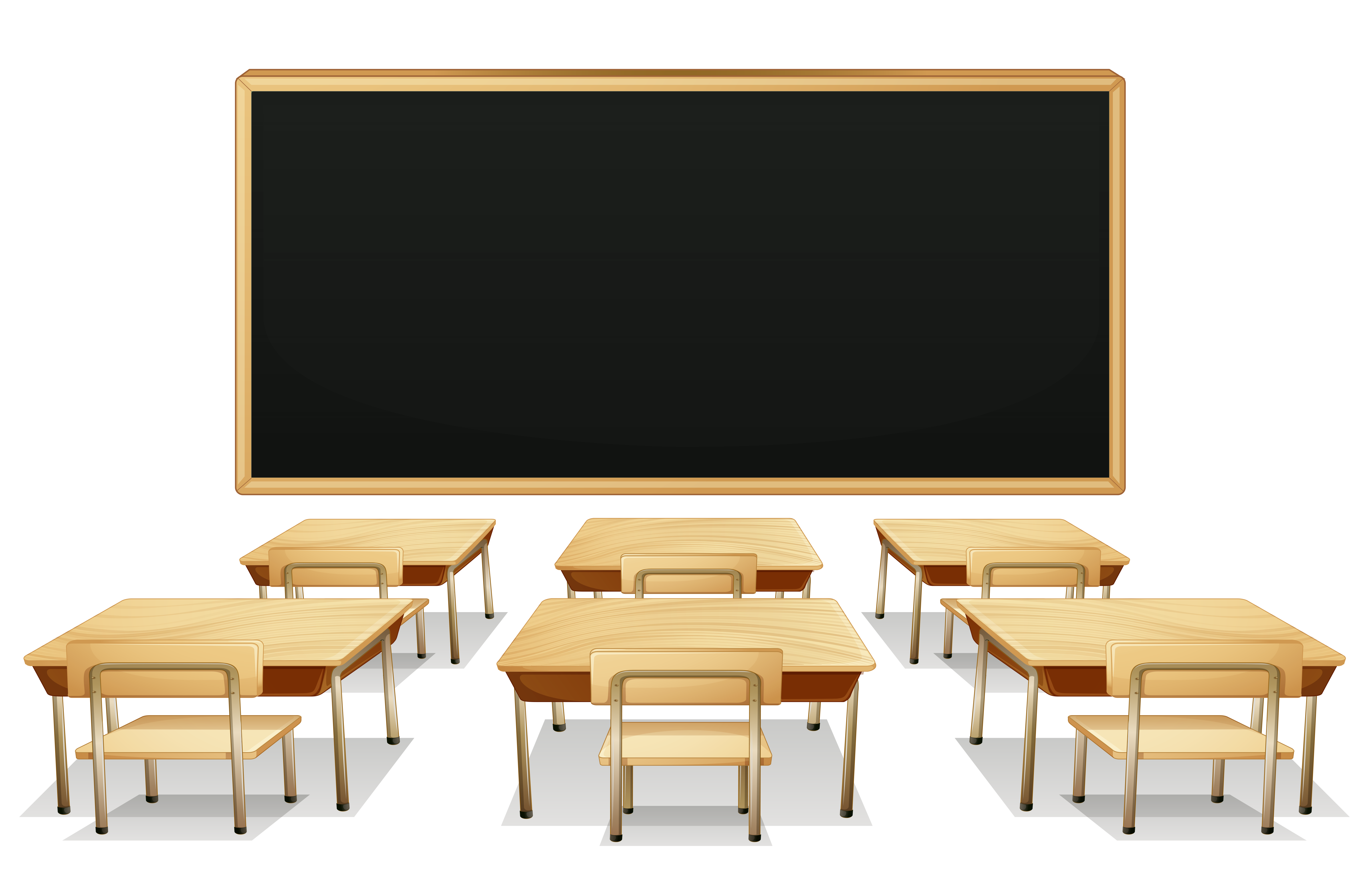 School Classroom with Blackboard and Desks PNG Clipart Picture.