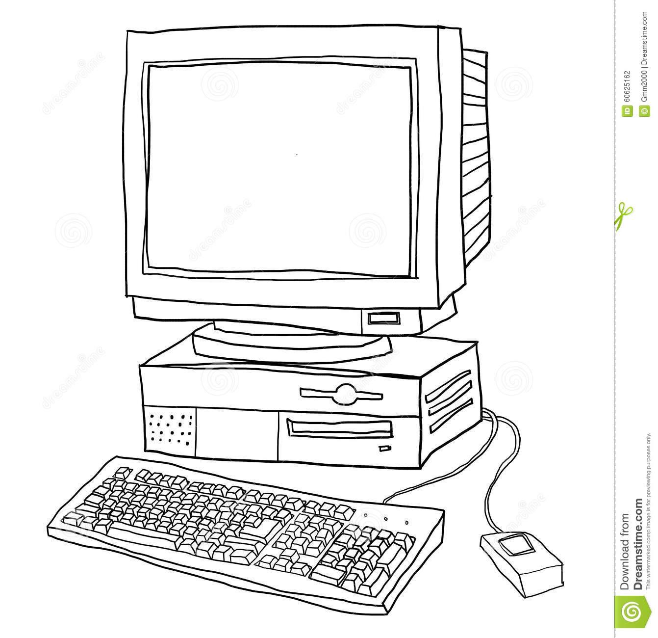 Old Computer Desktop Line Art Illustration Stock Illustration.