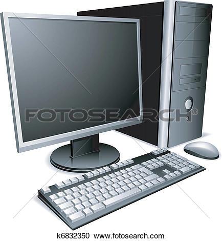 Clipart of Desktop PC computer workstation k11106762.