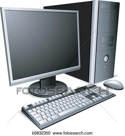 Desktop computer. Clipart.