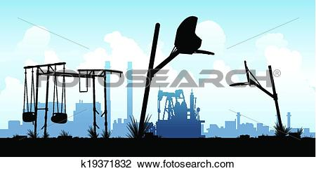 Clipart of Desolate Abandoned Playground k19371832.