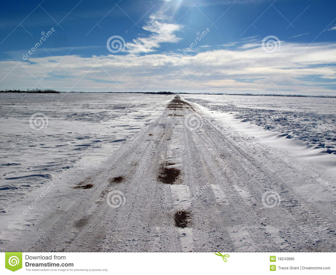 Desolate Winter Road Royalty Free Stock Image.