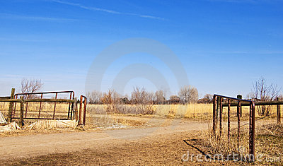 Pasture Gate In A Desolate Prairie Area Stock Image.