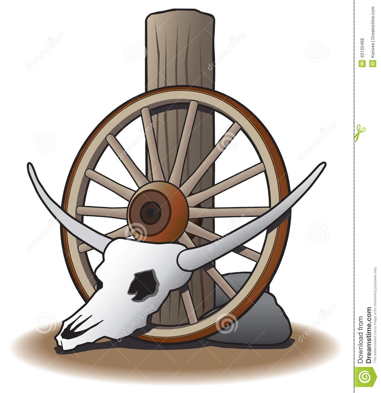 Steer Skull Against Wagon Wheel Stock Vector.