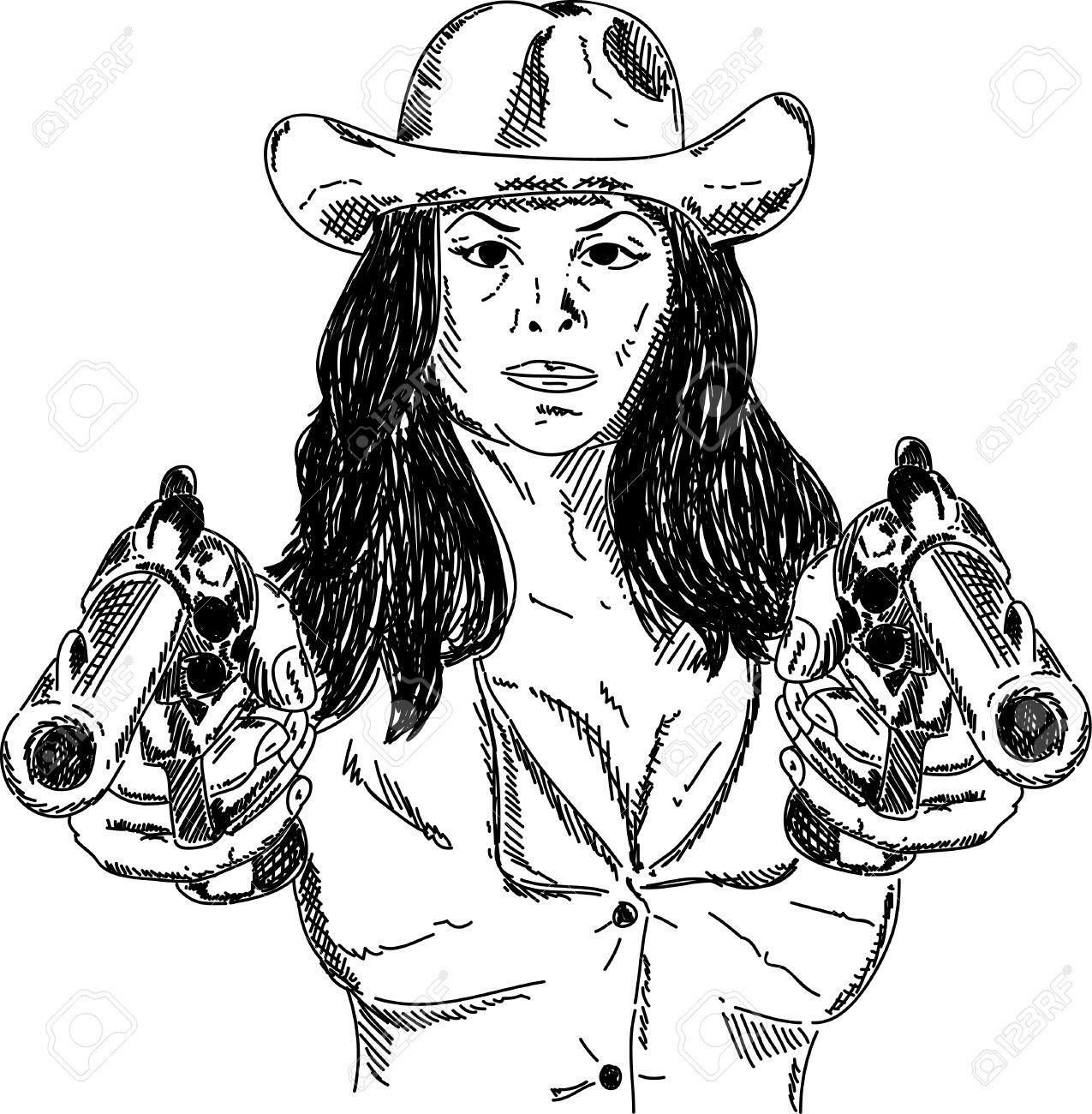 Women girl pistol gun clipart.