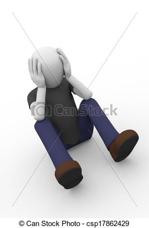 Clip Art of desperate man sitting on the ground.
