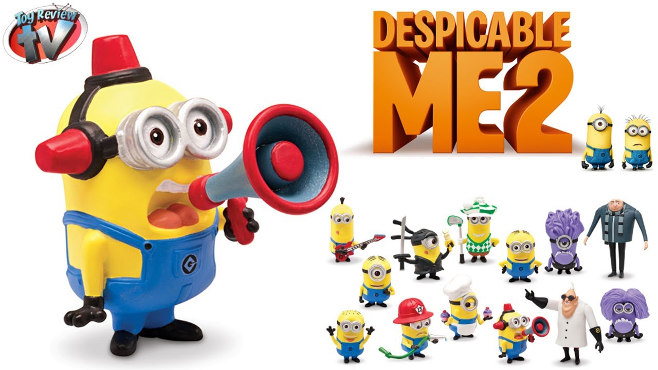 Despicable Me 2 Minion Fireman Action Figure Toy Review, Thinkway Toys.