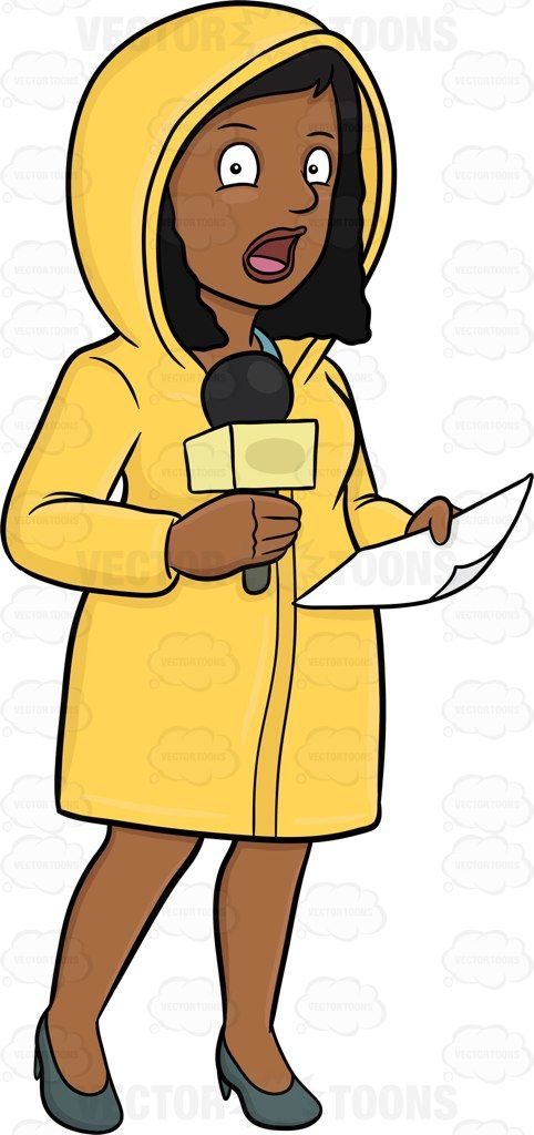 A black female broadcaster in raincoat reporting news from.