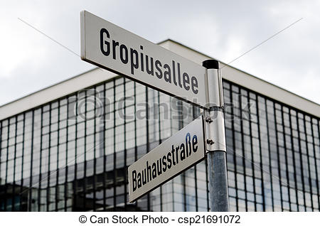 Picture of Street signs near Bauhaus building in Dessau, Germany.
