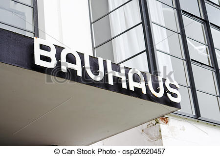 Stock Images of Entrance with label of the Bauhaus building in.