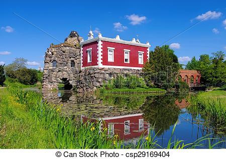 Stock Photography of English Grounds of Woerlitz Villa Hamilton.
