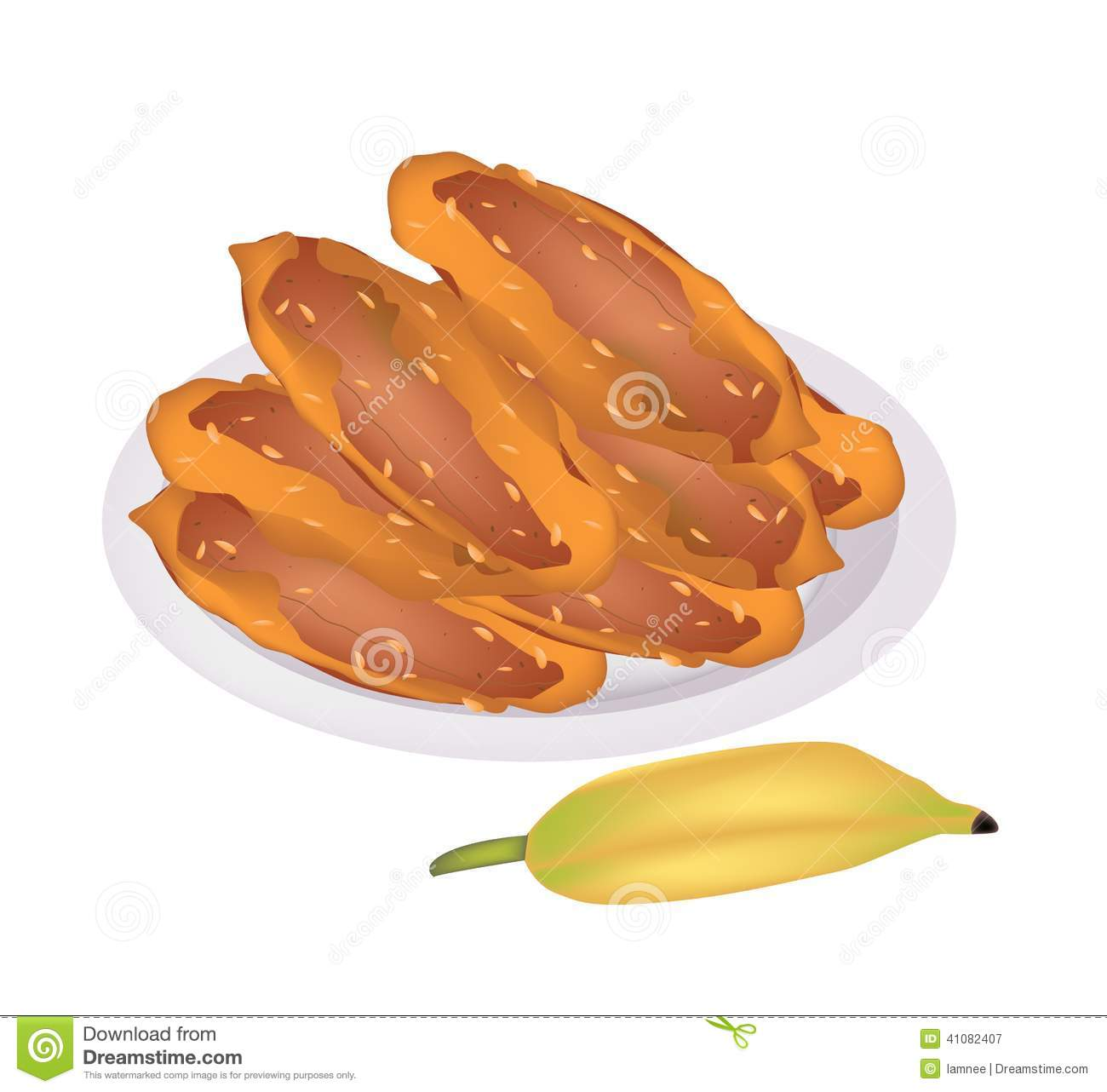 Delicious Fried Bananas On A White Dish Stock Vector.