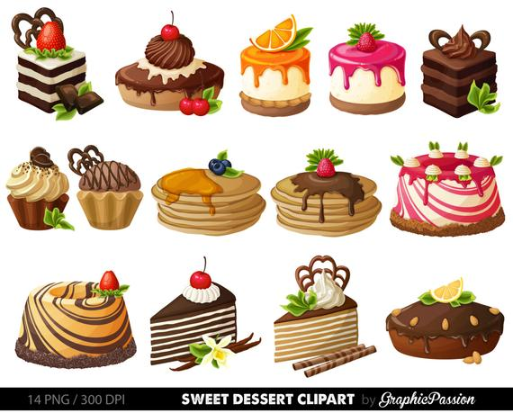Cake Digital Clipart Pastry Clip art Sweet Treat Cake clip art.