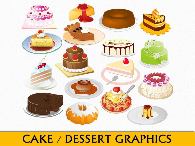 Dessert Clip Art Food Graphics Cake Clipart Scrapbook Cheesecake Torte  Bundt Chocolate Caramel Digital Download PNG Vector Commercial Use.