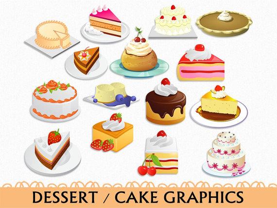 Cake Clip Art Graphic Food Sweets Dessert Clipart Scrapbook.
