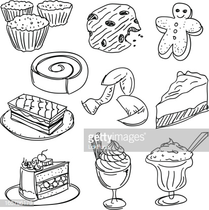 Dessert Collection In Black And White stock illustration.