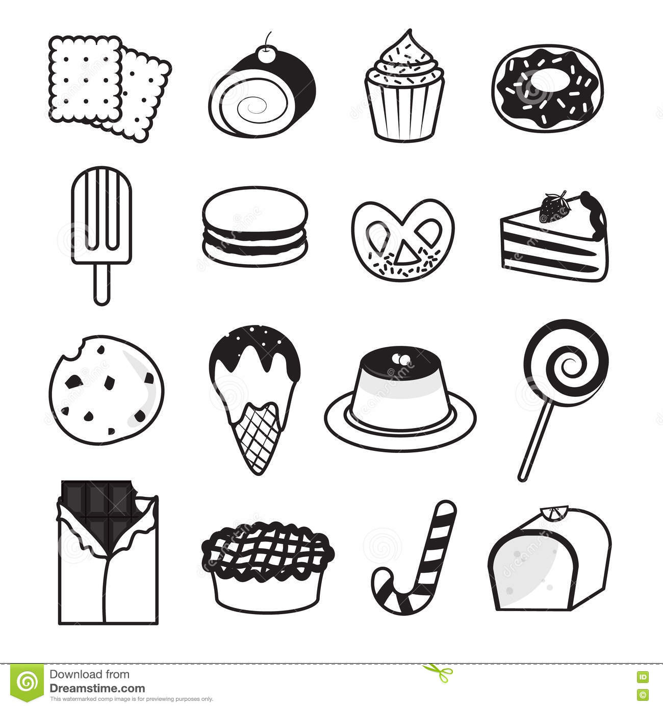 Desserts And Sweets Collection Stock Vector.