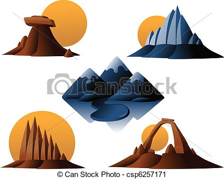 Vector Clip Art of Mountain and Desert Icons.