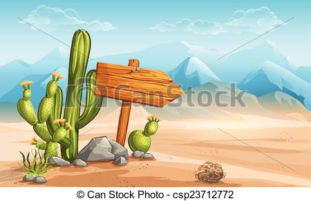 Vectors Illustration of A wooden sign in the desert mountains in.