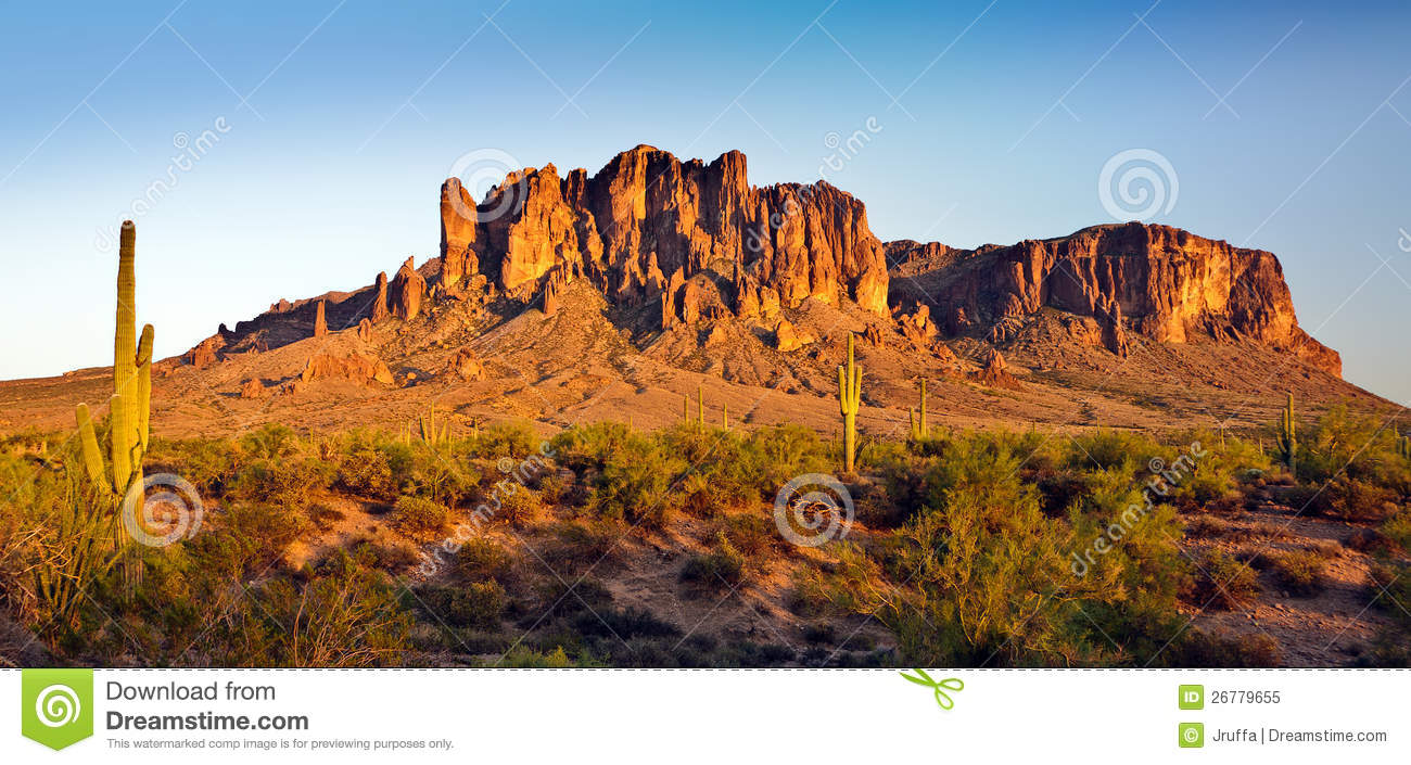 Desert Mountain Panorama Royalty Free Stock Photo.