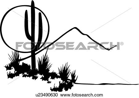 Clipart of , cactus, desert, illustrated panels, moon, mountain.