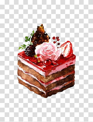 Cupcake Bakery Painting, Hand drawn cake transparent background PNG.