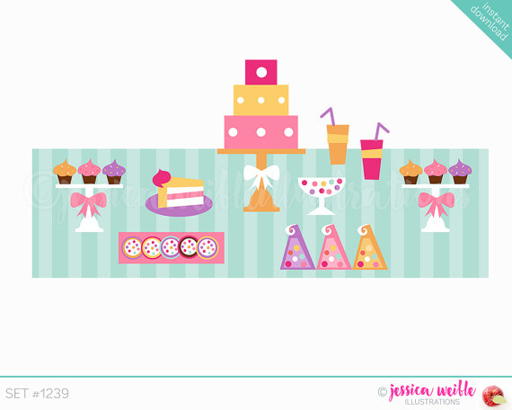 Instant Download Dessert Table Buffet Cute Digital Clipart.