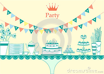 Dessert Table For A Party, Illustrations Stock Illustration.