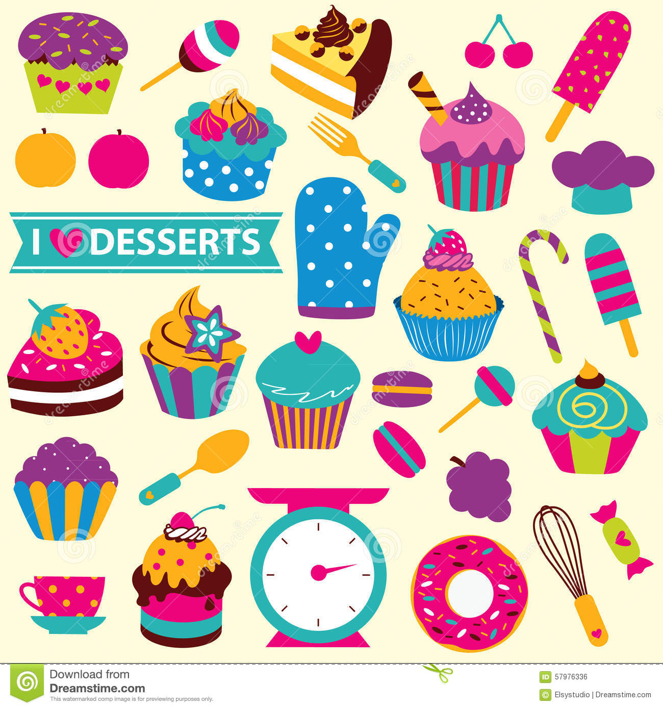 Colorful Desserts Clip Art Set Stock Vector.
