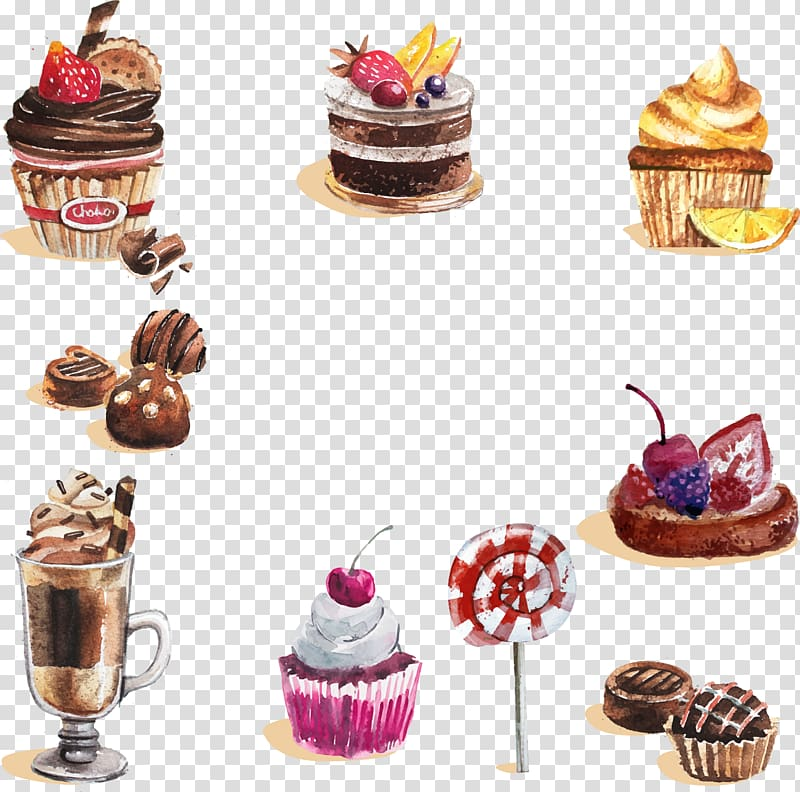 Assorted desserts, Watercolor painting Dessert Cupcake Candy.