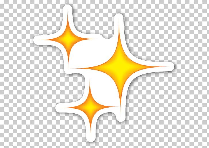 Brillos amarillos, pegatina emoji corazón, destellos PNG.