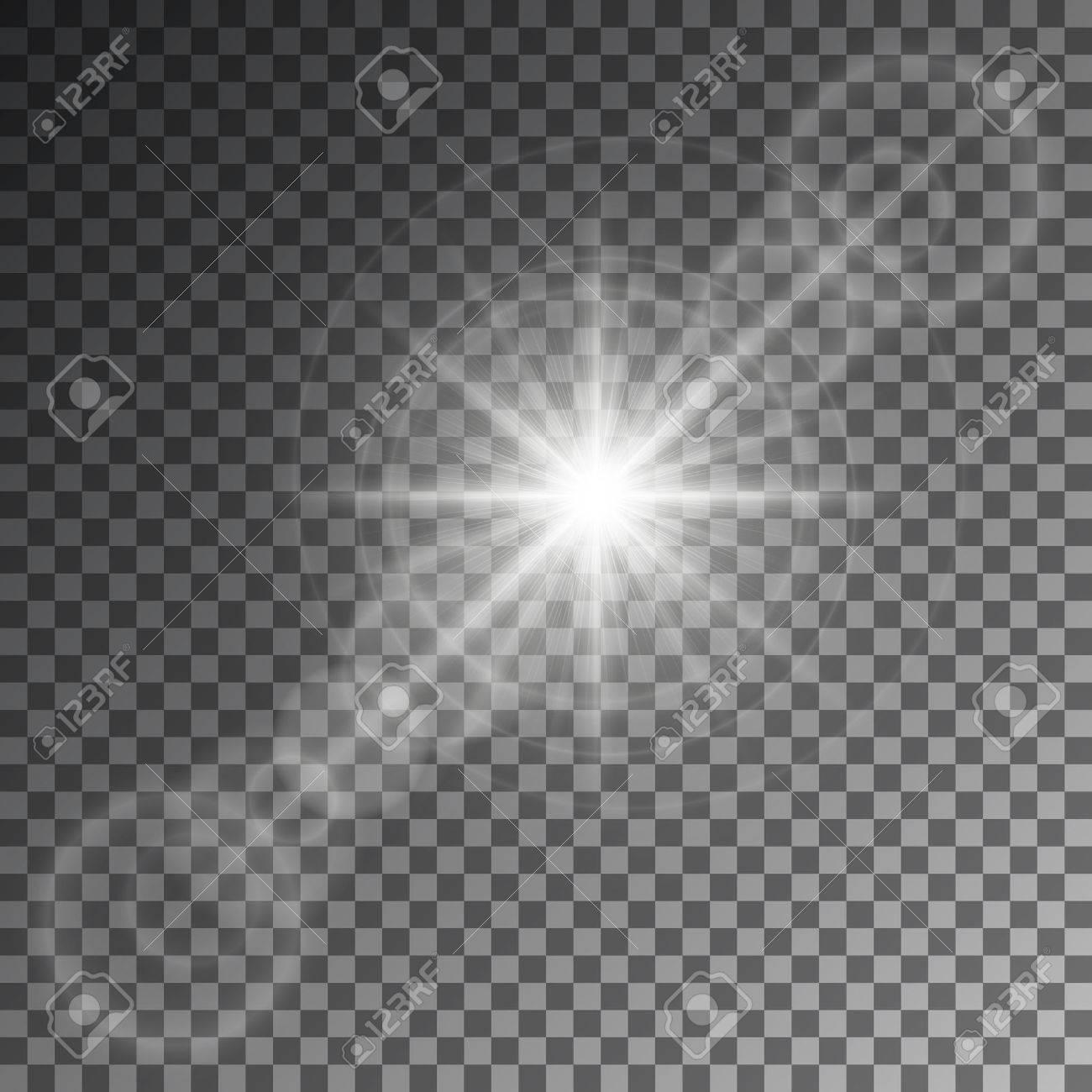 Ilustración vectorial de un conjunto abstracto de las imágenes de luz y  destellos..
