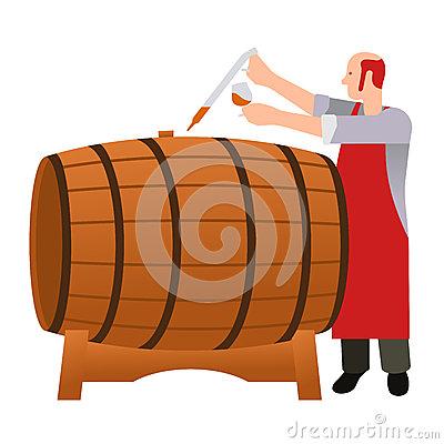 Woodcut Whiskey Barrel Stock Vector.