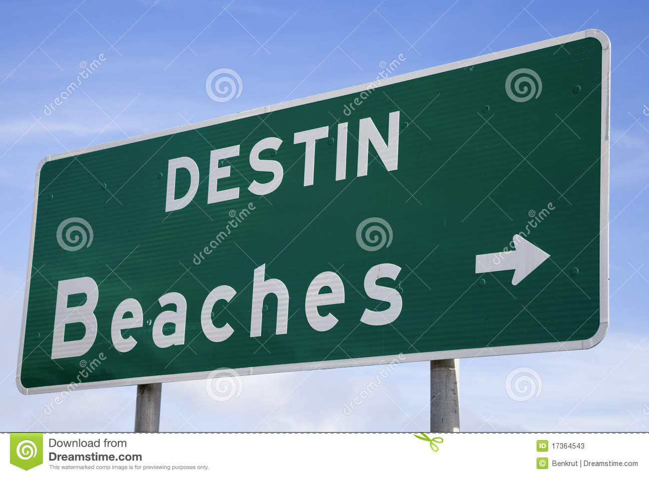Destin Beaches Sign Stock Photos.