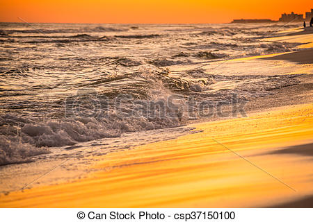 Stock Photography of orange sunset over gulf of mexico at destin.